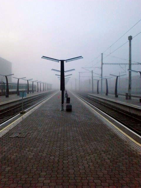 Foggy Train Station